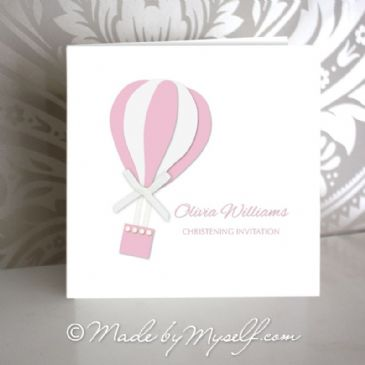 Hot Air Balloon Christening Invitation - Girl